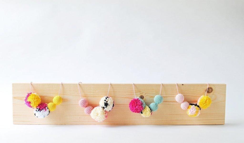Tiny Curl Crochet Mosaic Pom Necklace