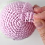 Attaching amigurumi ears for the Spring Bunny & Bear Amigurumi Pattern by Tiny Curl.