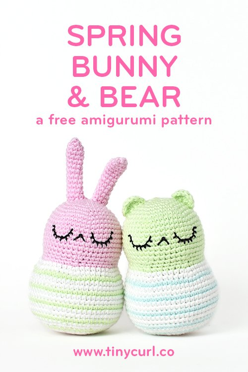 Ah spring... flowers in bloom, pastel colors, and cute little amigurumi animals everywhere. With their sweet stripes and squishy bellies, Spring Bunny & Bear are the perfect amigurumi to wash those winter blues away! They are the perfect size for little hands and make excellent baby shower gifts! Stuff a rattle into the body and you have the CUTEST crochet baby rattle!