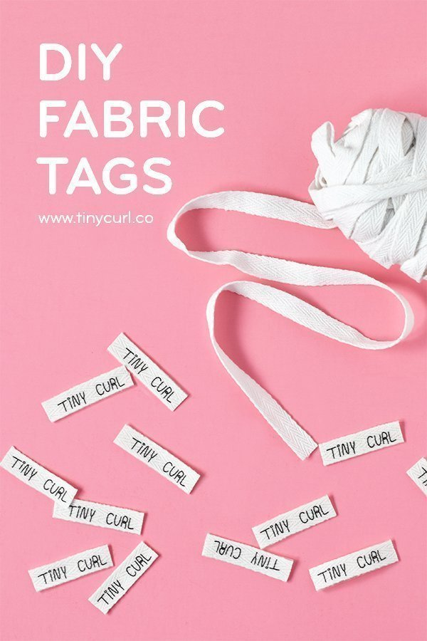 A poster for the DIY Custom Fabric Tag Tutorial by Tiny Curl