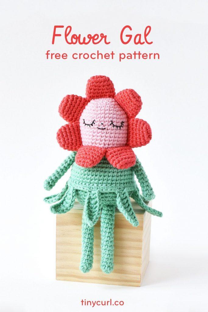 Flower Gal Free Amigurumi Crochet Pattern Pin