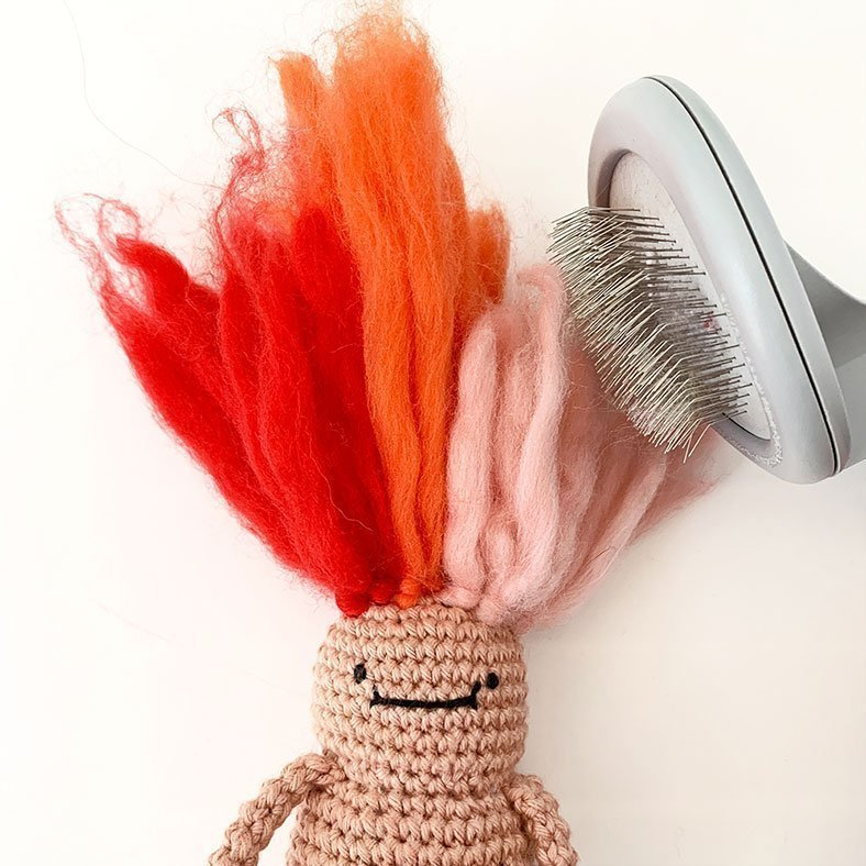 Hair Brush Troll Doll Crochet Pattern
