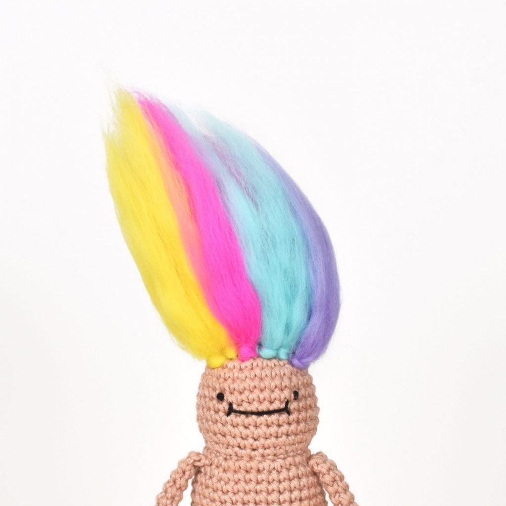 Amigurumi Troll Doll, with rainbow Troll Doll Hair.