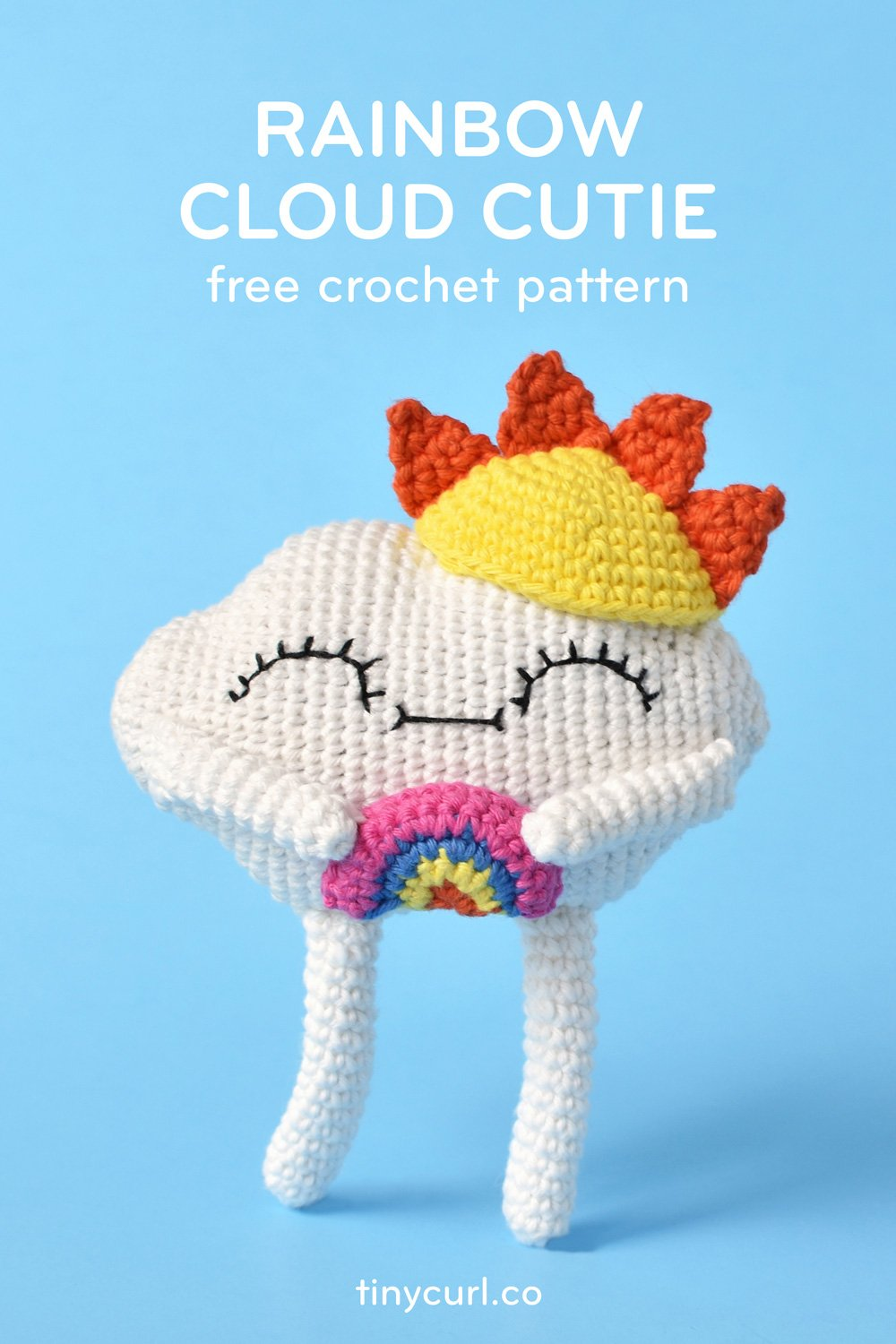 Finished amigurumi Rainbow Cloud Cutie doll at center stage for this poster. This is the main poster for the free crochet pattern.
