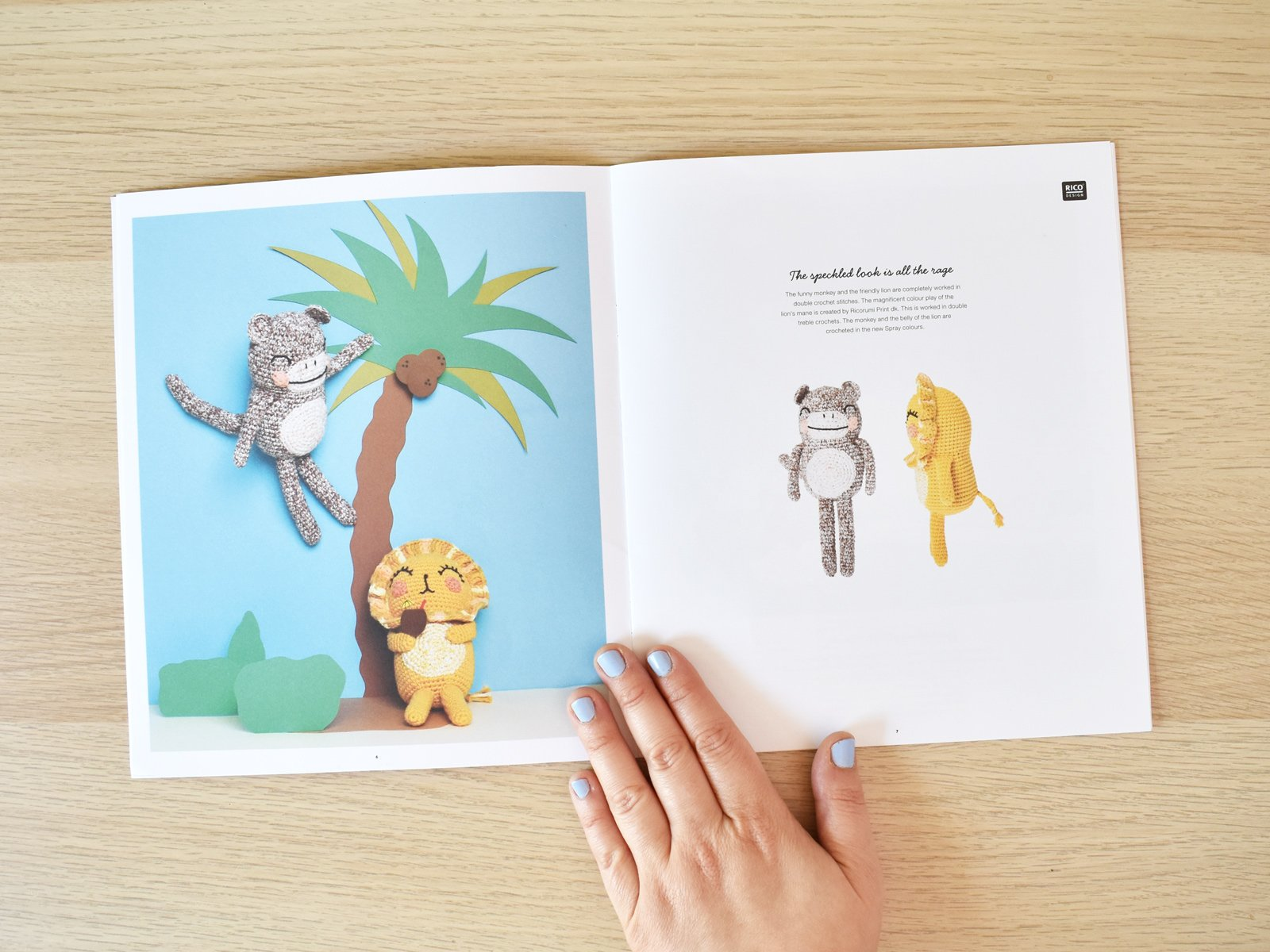 Ricorumi Wild Wild Animals amigurumi book is open to a page showing crochet monkey and crochet lion.