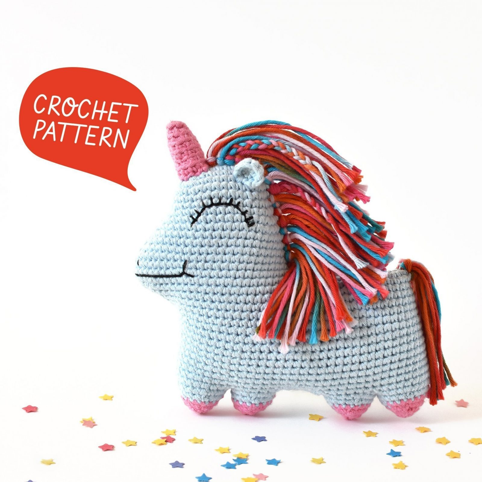 Poster for the rainbow unicorn amigurumi pattern for Uni Queen.