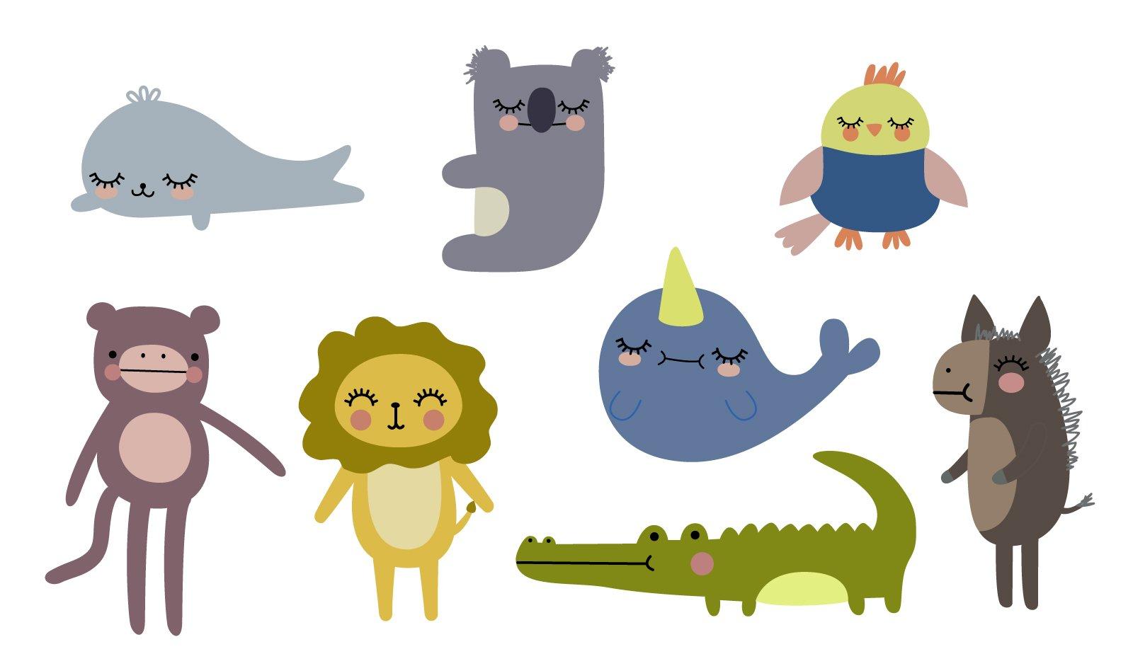 Digital illustrations of animals including seal, monkey, lion, koala, narwhal, alligator, bird, and donkey.