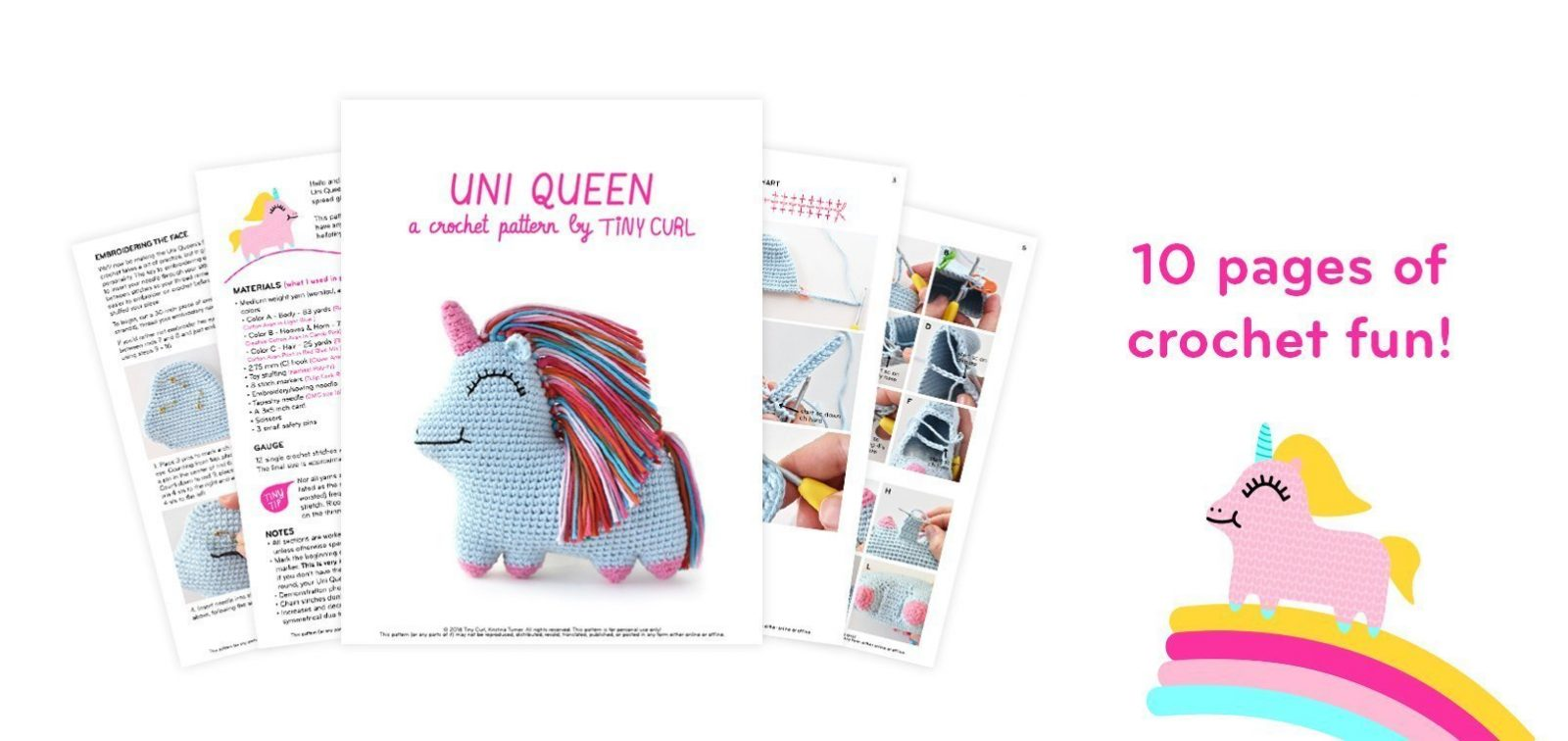 PDF pattern image for the rainbow unicorn amigurumi pattern for Uni Queen.
