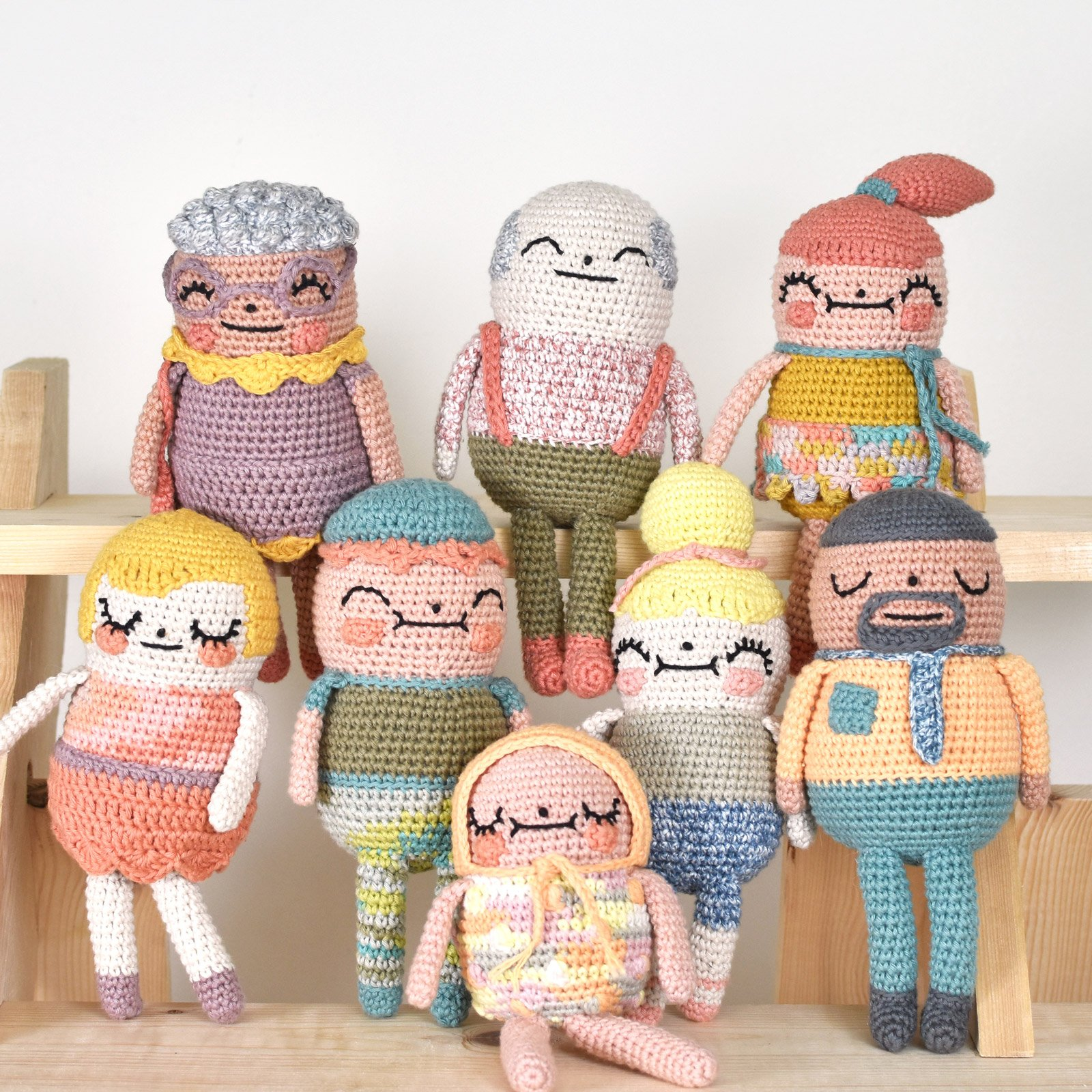 A group photo of the crochet family.