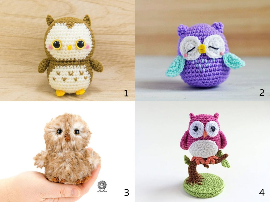 4 different owl crochet patterns by various crochet designers