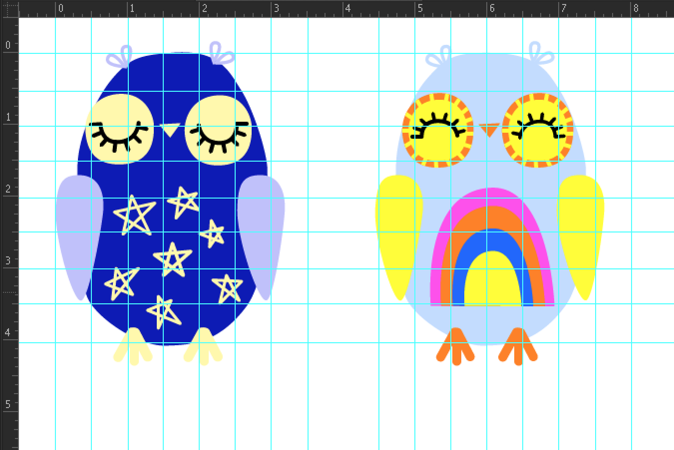 Digital illustrations of 2 owls with a grid overlay.