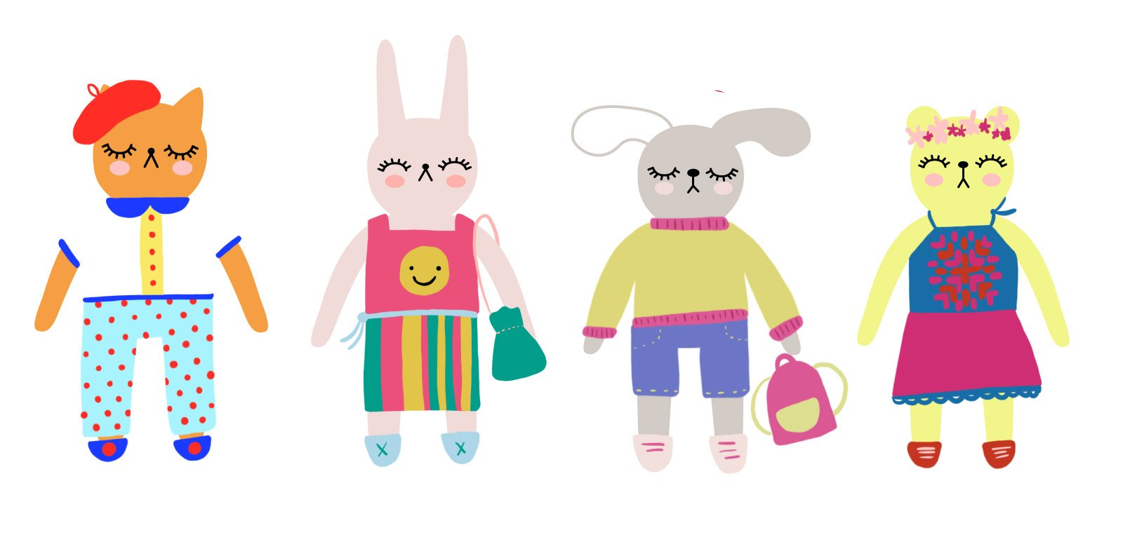 Digital illustrations of a cute Cat, Bunny, Dog, and Bear wearing outfits.
