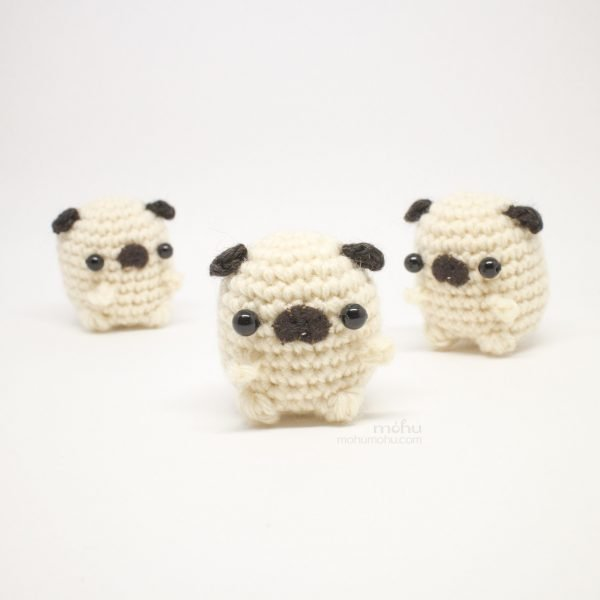 crochet pugs with bead eyes