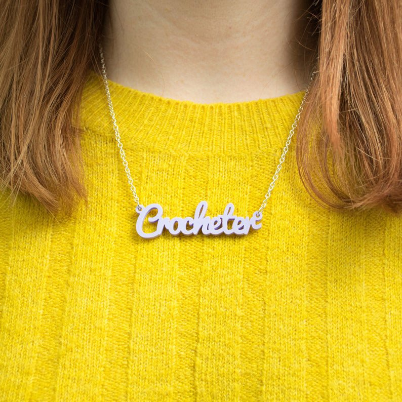 acrylic crocheter necklace