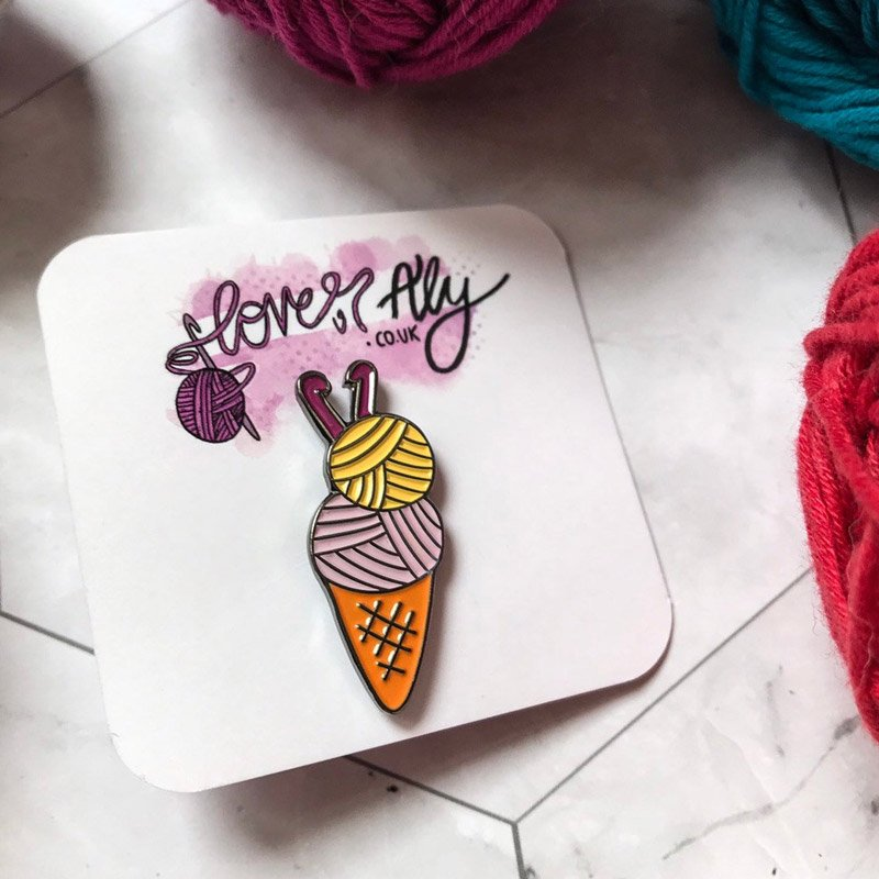 Yarn ice cream enamel pin