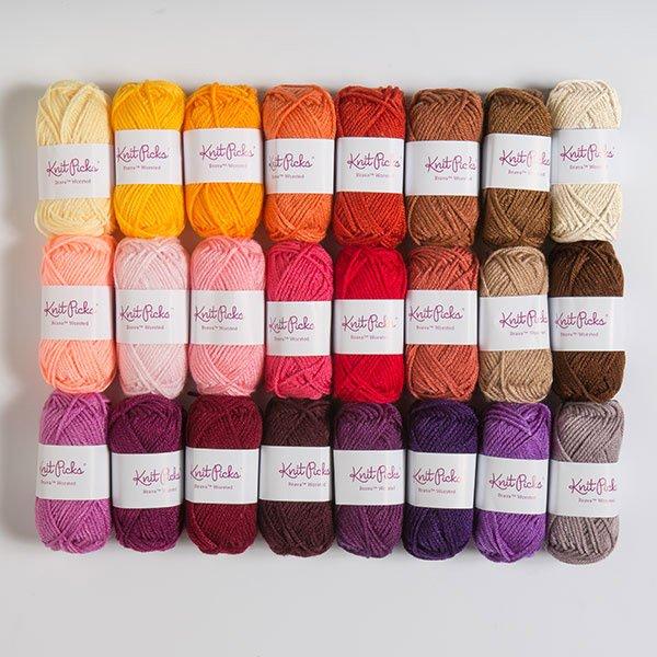 knitpicks brava worsted yarn balls lined up