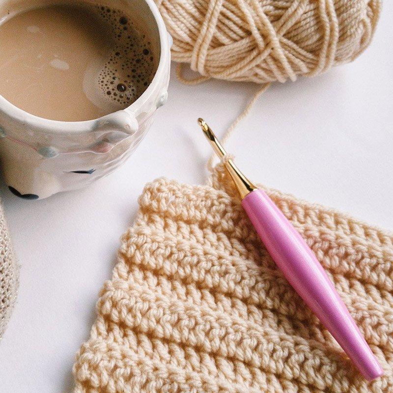 furls crochet hook on a crochet swatch