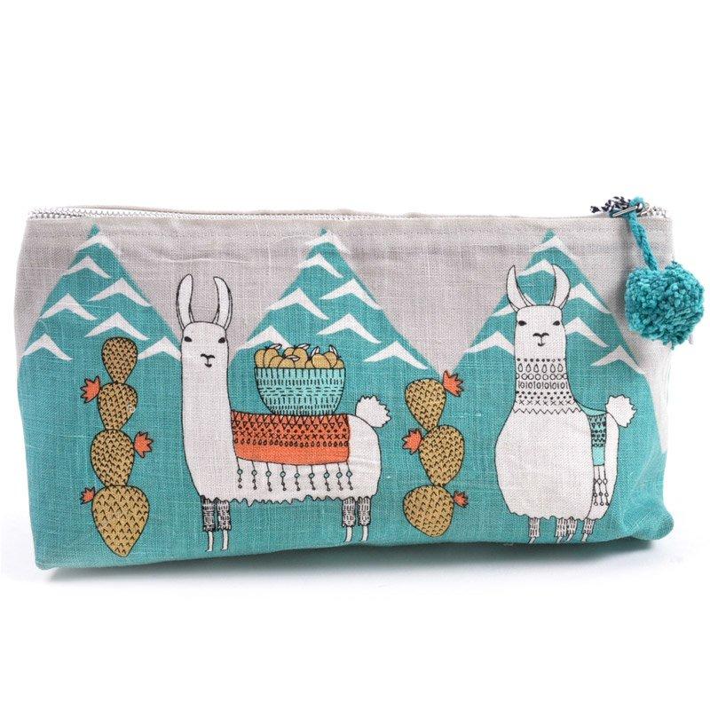 llama crochet project bag