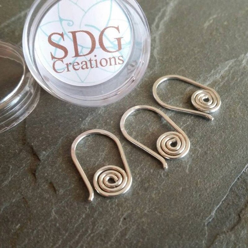 handmade sterling silver stitch markers