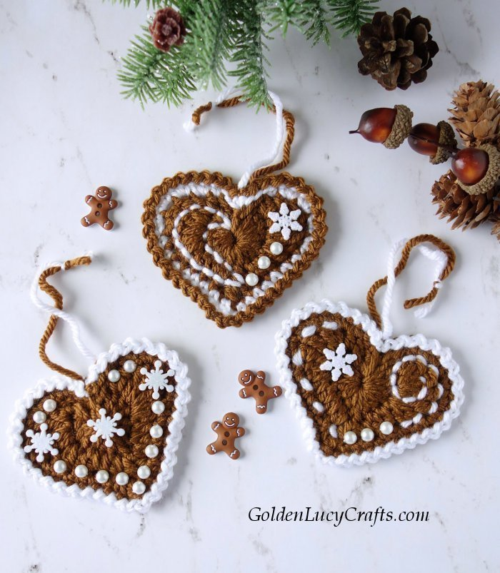 three gingerbread heart christmas ornaments
